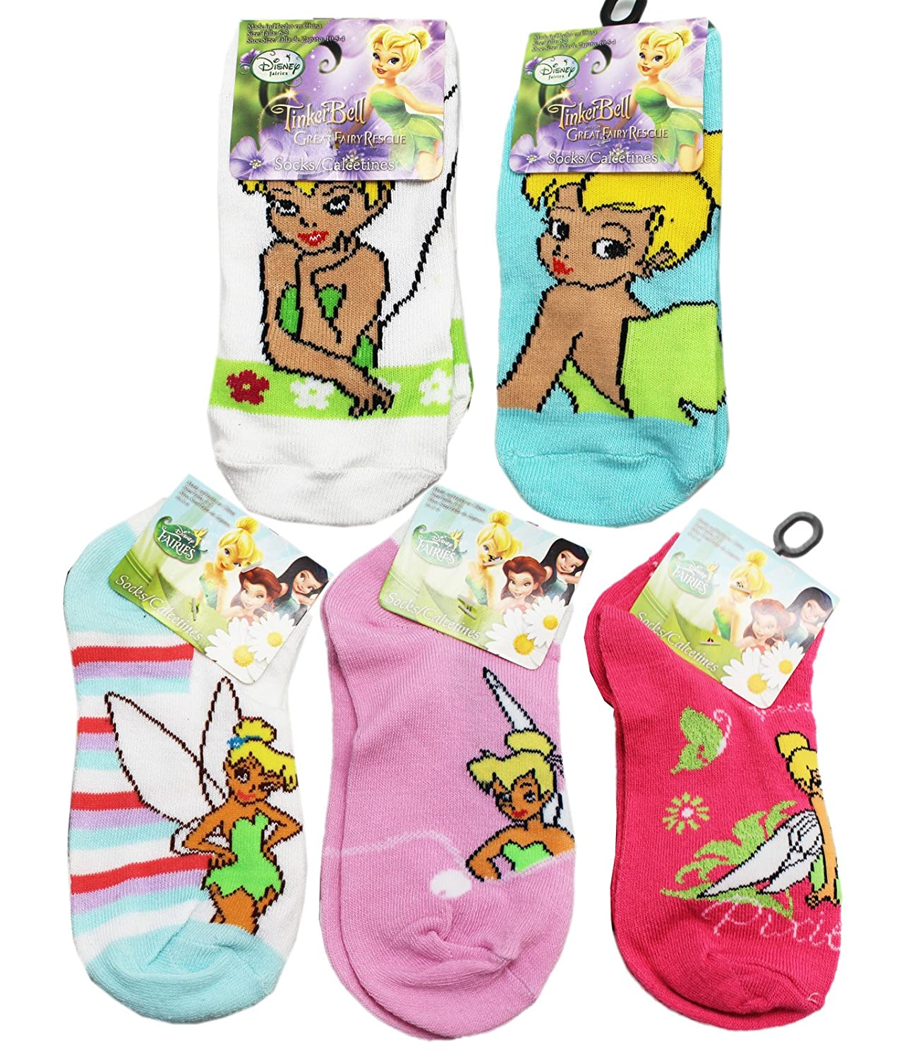 Amazon.com: Disneys Tinker Bell Assorted Color and Design Kids Socks (3 Pairs, Size 6-8): Clothing