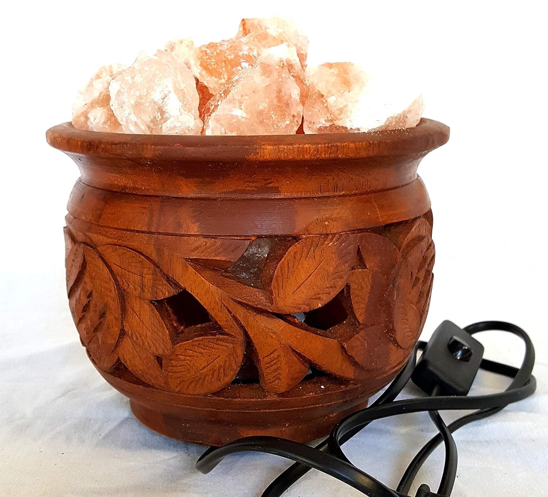 Artigianato Lampada di Sale Salgemma dell'Himalaya BRACIERE di Fuoco con Certificato di Garanzia Pakistan