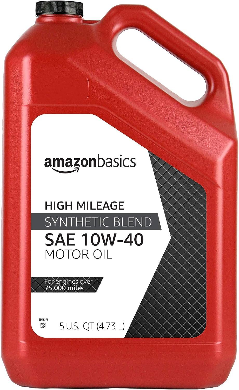 AmazonBasics High Mileage Motor Oil, Synthetic Blend, 10W-40, 5 Quart