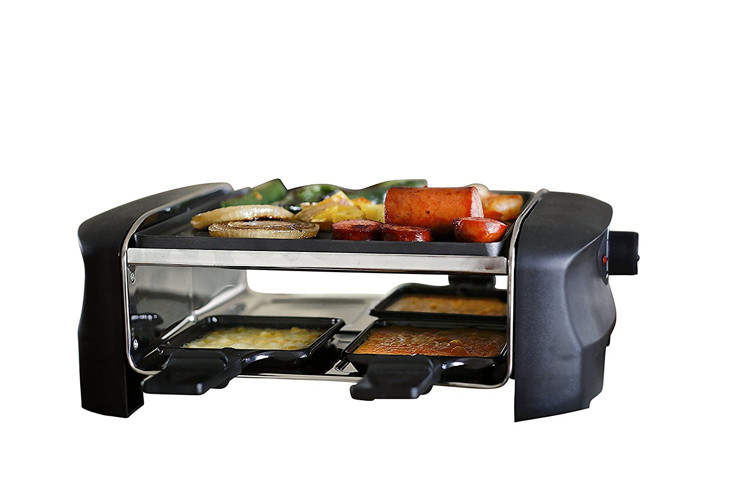Milliard Raclette Grill for Four People, Includes Reversible Non-Stick Grilling Surface, 4 Paddles and Spatulas - Great for a Family Get Together or Party