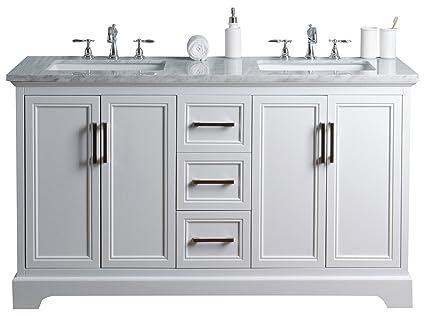 Stufurhome HD 1525W CR Ariane 60 Inch Double Vanity Cabinet Dual Bathroom  Sinks, White