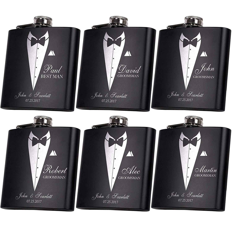 Set of 6, Set of 3, Single - Personalized Flask, Groomsmen Gift, Customized Groomsman Flasks, Wedding Favors, Matte Black (6) by YUUNITY