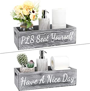 Luxspire Bathroom Decor Box, 1 Pack Farmhouse Wooden Toilet Paper Tissue Holder Storage Tray with Handle, Funny Sayings Have a Nice Day, Toilet Tank Topper Organizer, Rustic Signs Decorer - Gray