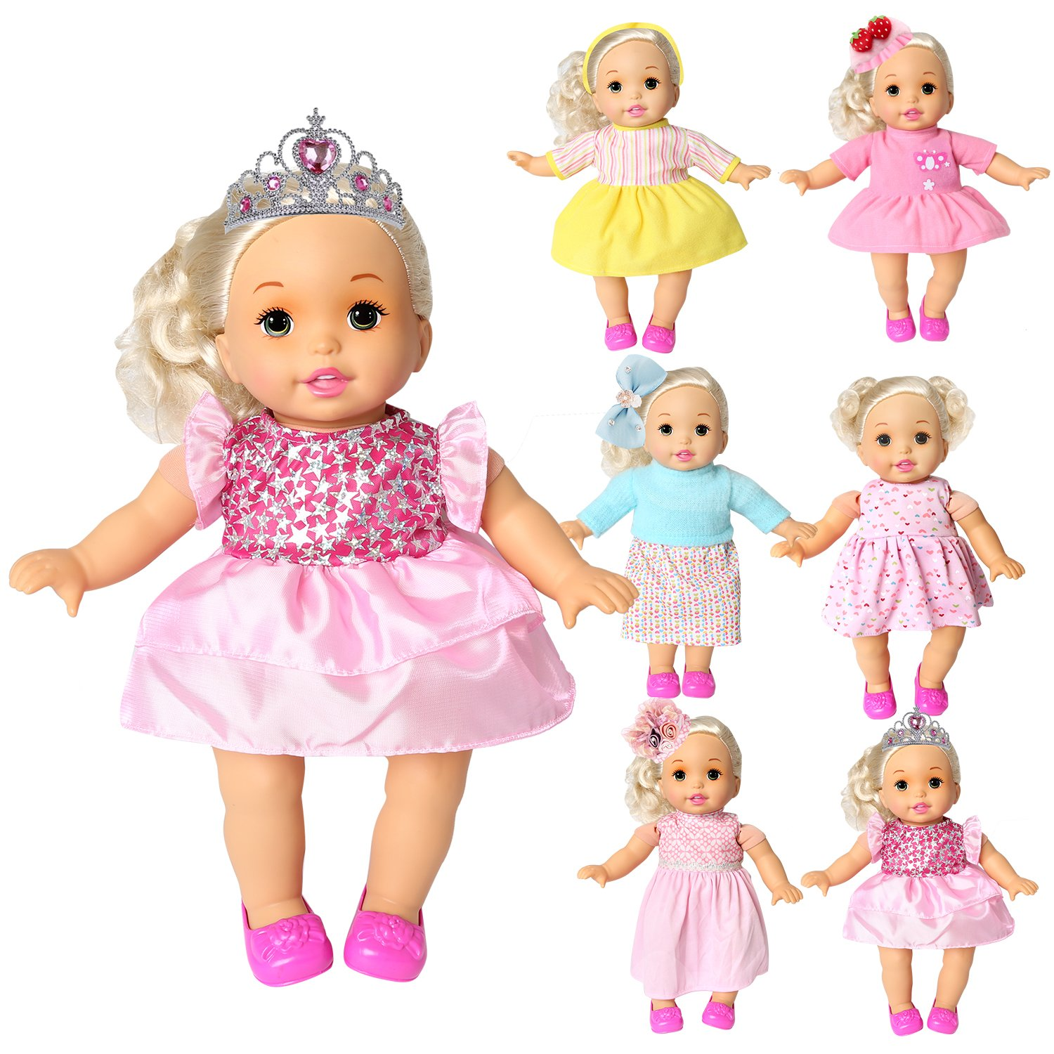 rainbow yuango Pack of 6 Bitty Baby Alive Doll Clothes Colorful Handmade Dresses Skirts Outfits Realistic Daily Costumes Gown Set Fits 12'' 13'' 14'' 15'' Baby Alive Doll Chenghai