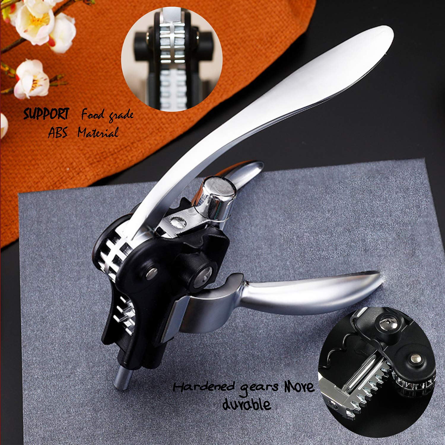 Wine Opener Screwpull Lever Rabbit Corkscrew Stylish Wine Accessory Gift Box Set with foil cutter extra spiral worm and vacuum pump&stopper by WTIANQI (Image #3)