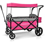 WONDERFOLD X2 Passenger Push Pull Twin Double Stroller Wagon with Adjustable Handle Bar