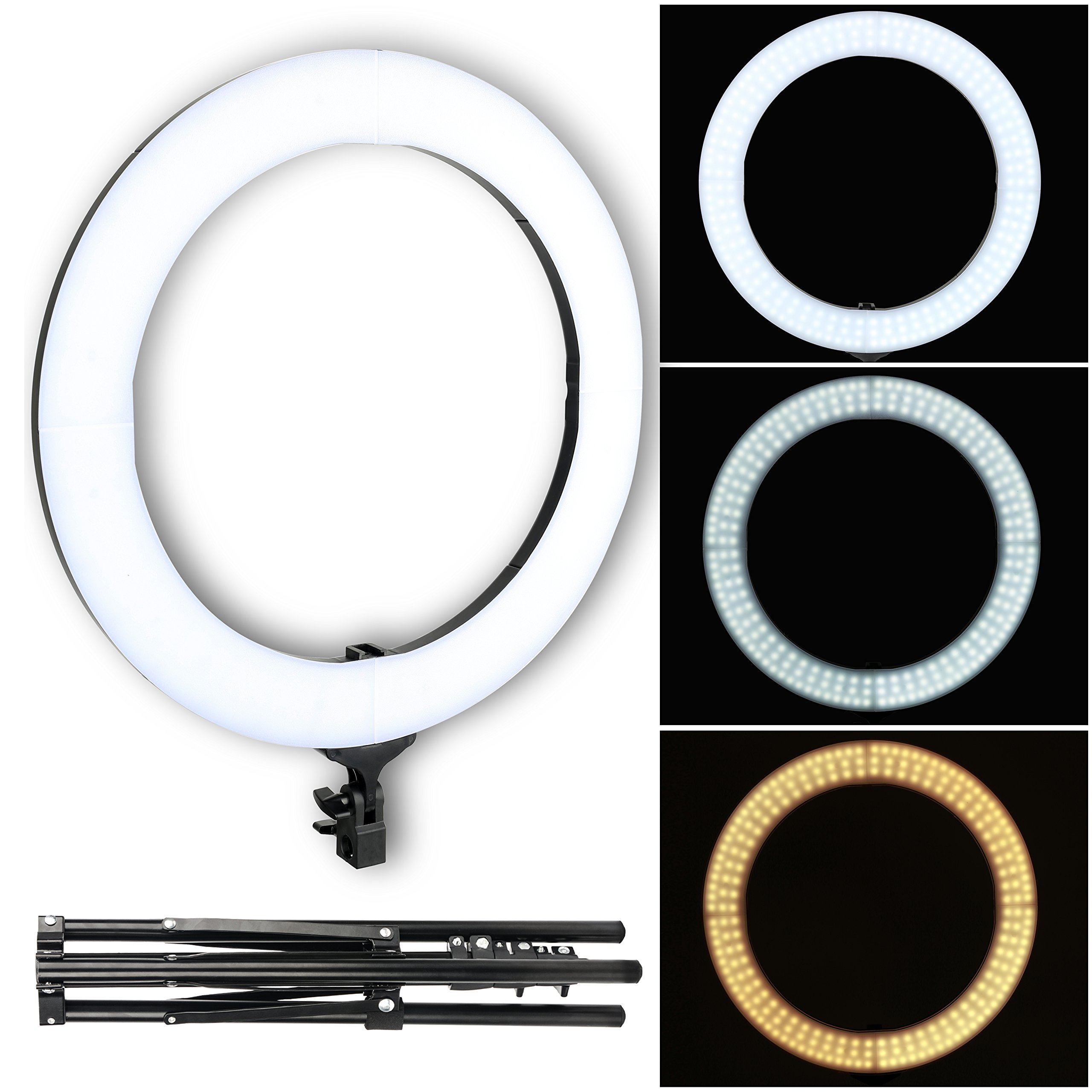 ZOMEI LED Color Temperature Ring Light, 18-inch Outer 58W 2700-5500K Dimmable LED Video Lighting kit with Stand Phone Adapter Carrying Bag for YouTube Vlog Makeup Video Shooting Salon Portrait Selfie