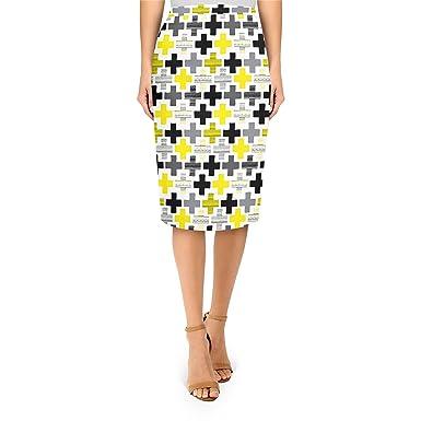 d6a53a7a7d Geometric Cross Yellow - L - Midi Pencil Skirt: Amazon.co.uk: Clothing