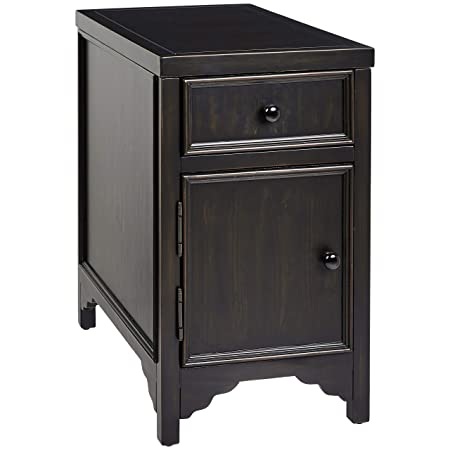 Ball Cast Oliver Wood End Table with Drawer and Cabinet, Bermuda Black