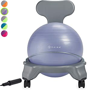 Gaiam Kids Balance Ball Chair - Classic Children's Stability Ball Chair, Alternative School Classroom Flexible Desk Seating for Active Students