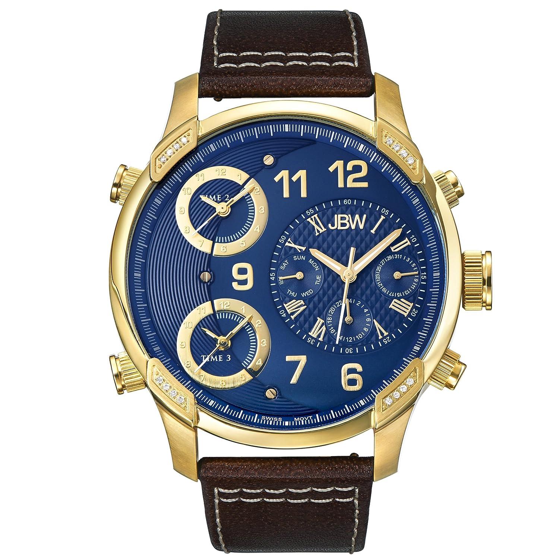 JBW Luxury Mens G4 0.16 ctw Diamond Wrist Watch with Leather Bracelet