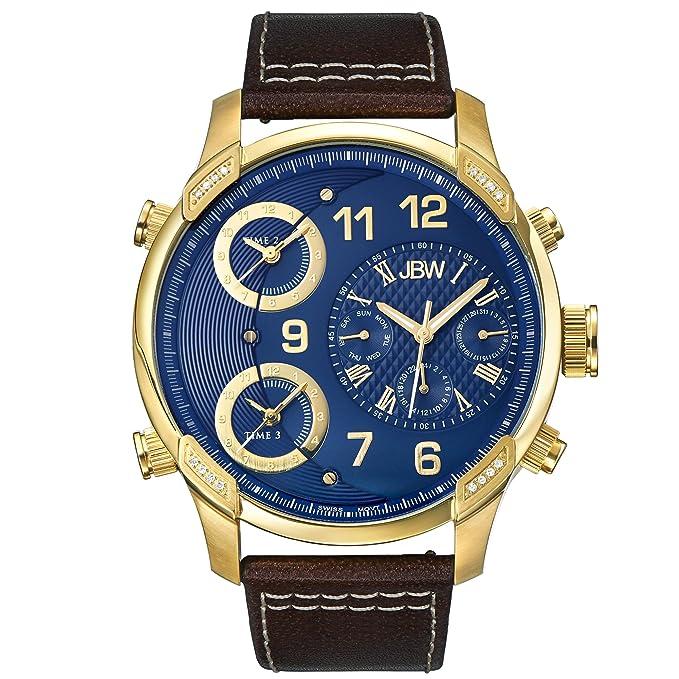 JBW Luxury Men's G4 J6248LO 0.16 Karat Diamond Wrist Watch with Leather Bracelet