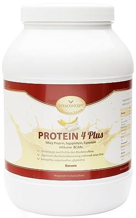 VITACONCEPT PROTEIN 4 PLUS - Compuesto de proteínas - Suero de leche, soja y huevo - Hecho en Alemania - Plátano - 1kg: Amazon.es: Salud y cuidado personal