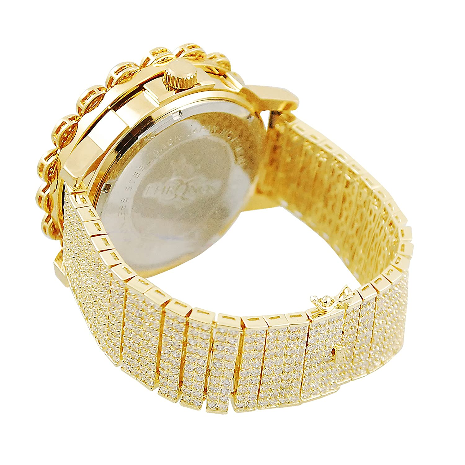 Amazon.com: Golden Cluster Design Kronos Special Real Diamond Classic Watch Chic Bezel Set: Watches