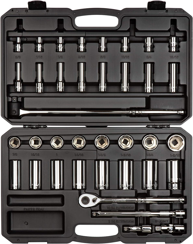 TEKTON 1/2 Inch Drive 6-Point Socket & Ratchet Set, 38-Piece (3/8-1-5/16 inch)   SKT25101, 1/2-Inch Drive