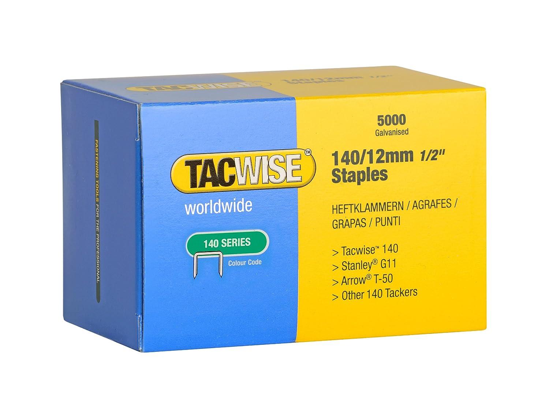 Tacwise 0343 Boî te de 5000 Agrafes galvanisé es 12 mm Type 140