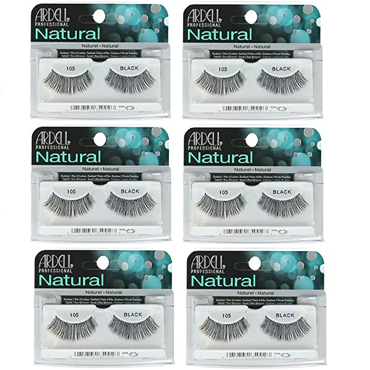 d8fb3994185 Amazon.com : Ardell - Fashion Lashes #105, Reusable upto Three Weeks, Black  (6 Pack) : Beauty