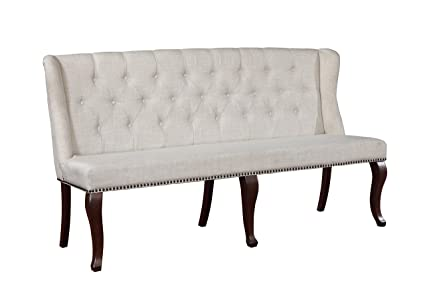 Best Quality Furniture D35B Beige Linen Fabric Upholstered Dining Bench,  Cappuccino