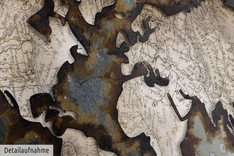 Mappemonde Carte g/éographie Terre Continent Argent Marron D/écoration Murale XXL KunstLoft/® Tableau m/étallique 3D We Stay United 60x40x4cm Tableau Moderne Fait /à la Main en m/étal