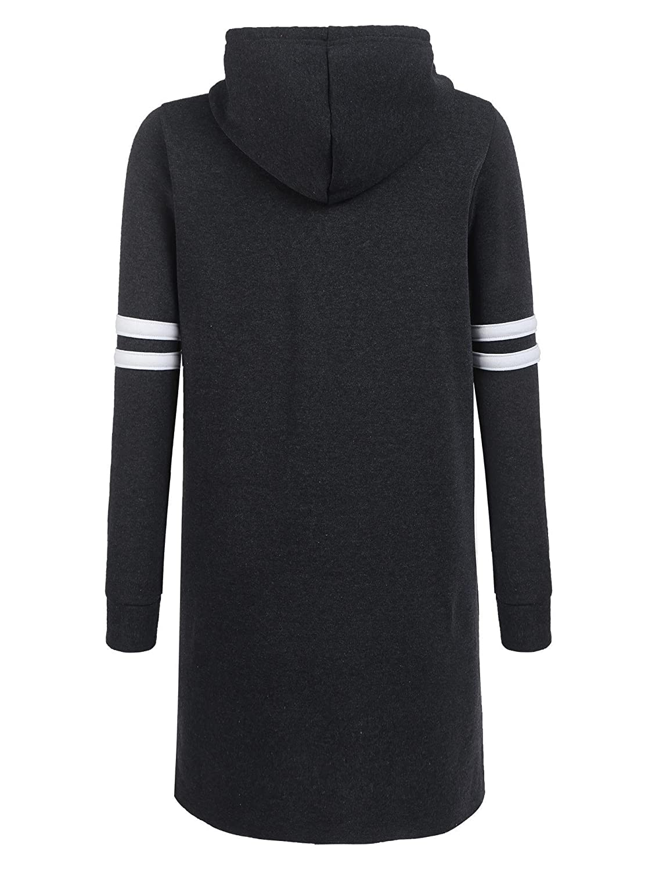 BEAUTYTALK Womens Knee Length Sweatershirt Long Sleeve Striped Hoodie Dress