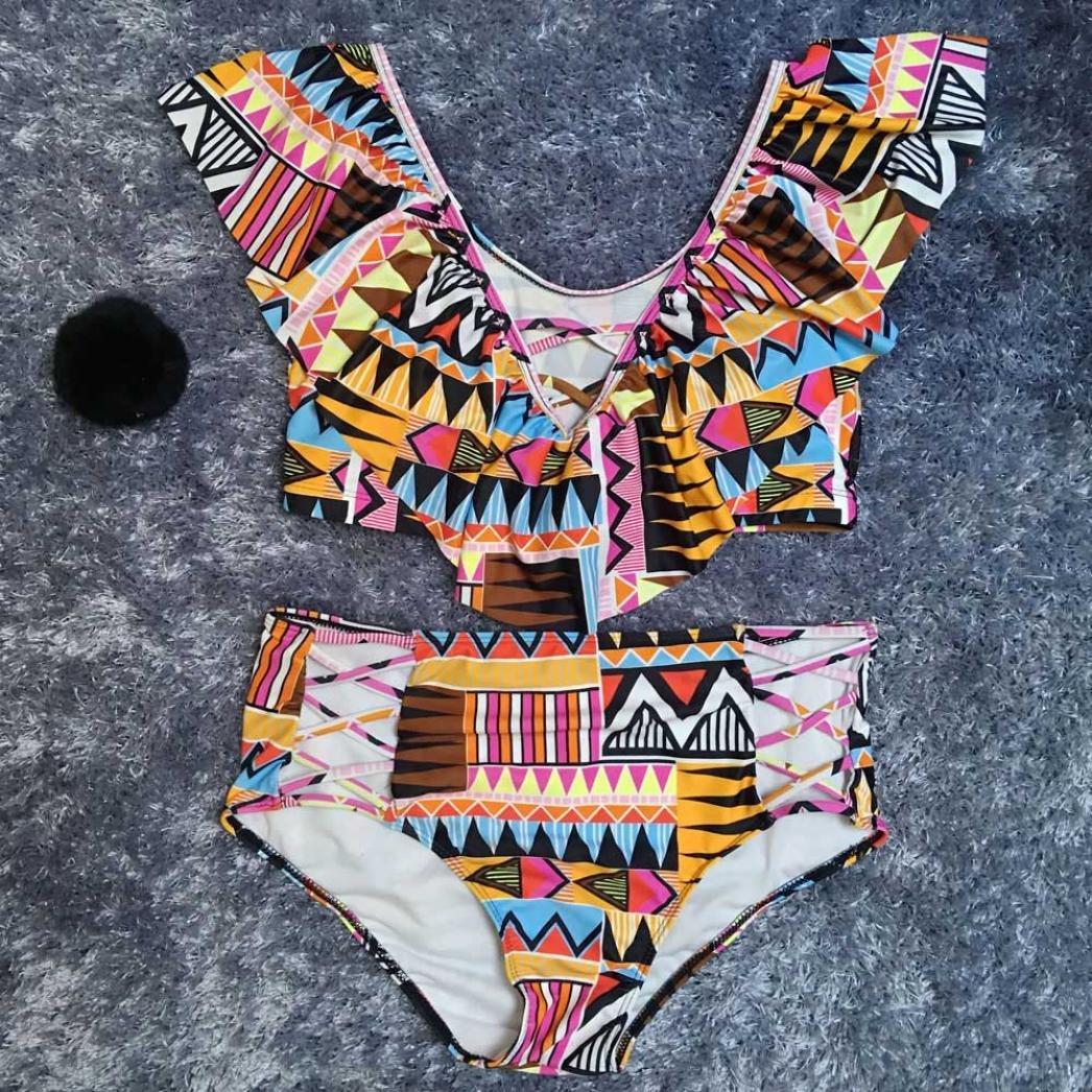 e7770a858a Amazon.com  ZLOLIA Women Summer Swimwear Ruffle Print Two Piece Plus Size  Swimsuit Beachwear Bathing Suit  Clothing