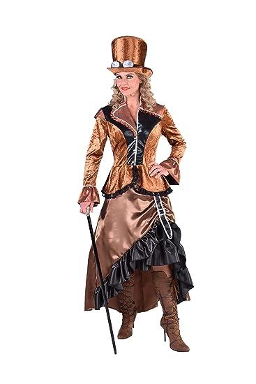 m217114 l damen steampunk kostum kleid bronze braun gr l amazon de spielzeug