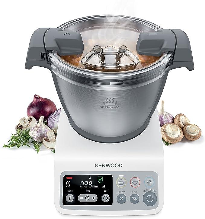 Kenwood kCook Robot de cocina, diseño compacto, hasta 4 comensales, bol de 1.5 L, más de 200 recetas en su app, 800 W, Acero Inoxidable, 3 Velocidades, Gris y Blanco: Amazon.es: Hogar