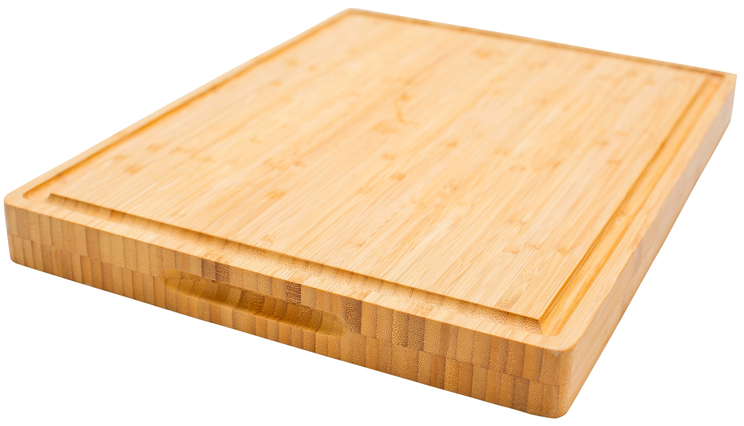 PREMIUM Butcher Block | Bamboo Cutting Board | X-Large | Organic & Anti-bacterial | Size 17''x13''x1.5'' | Compare & SAVE!