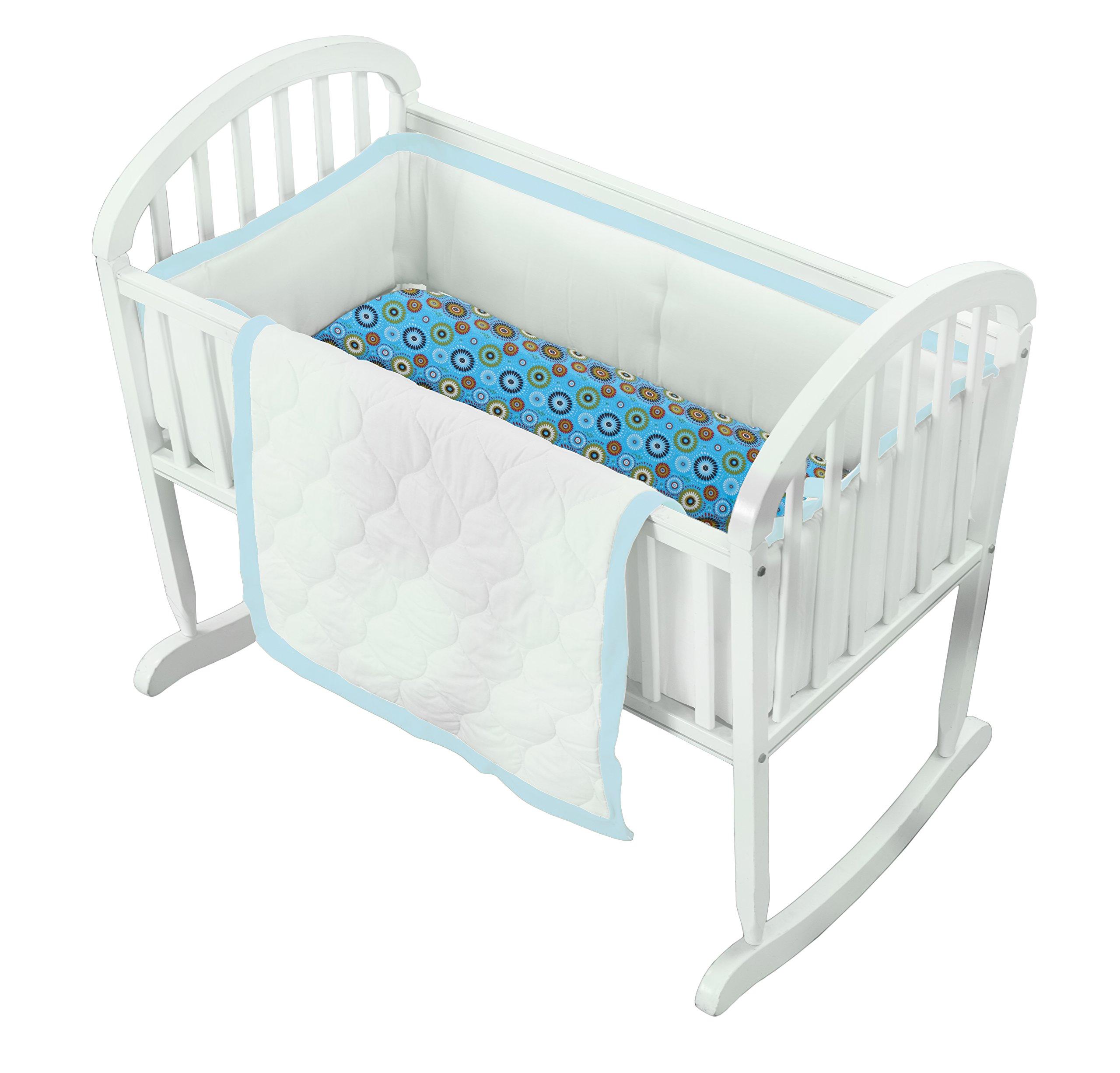 Baby Doll Medallion 3 Piece Cradle Bedding Set, Blue