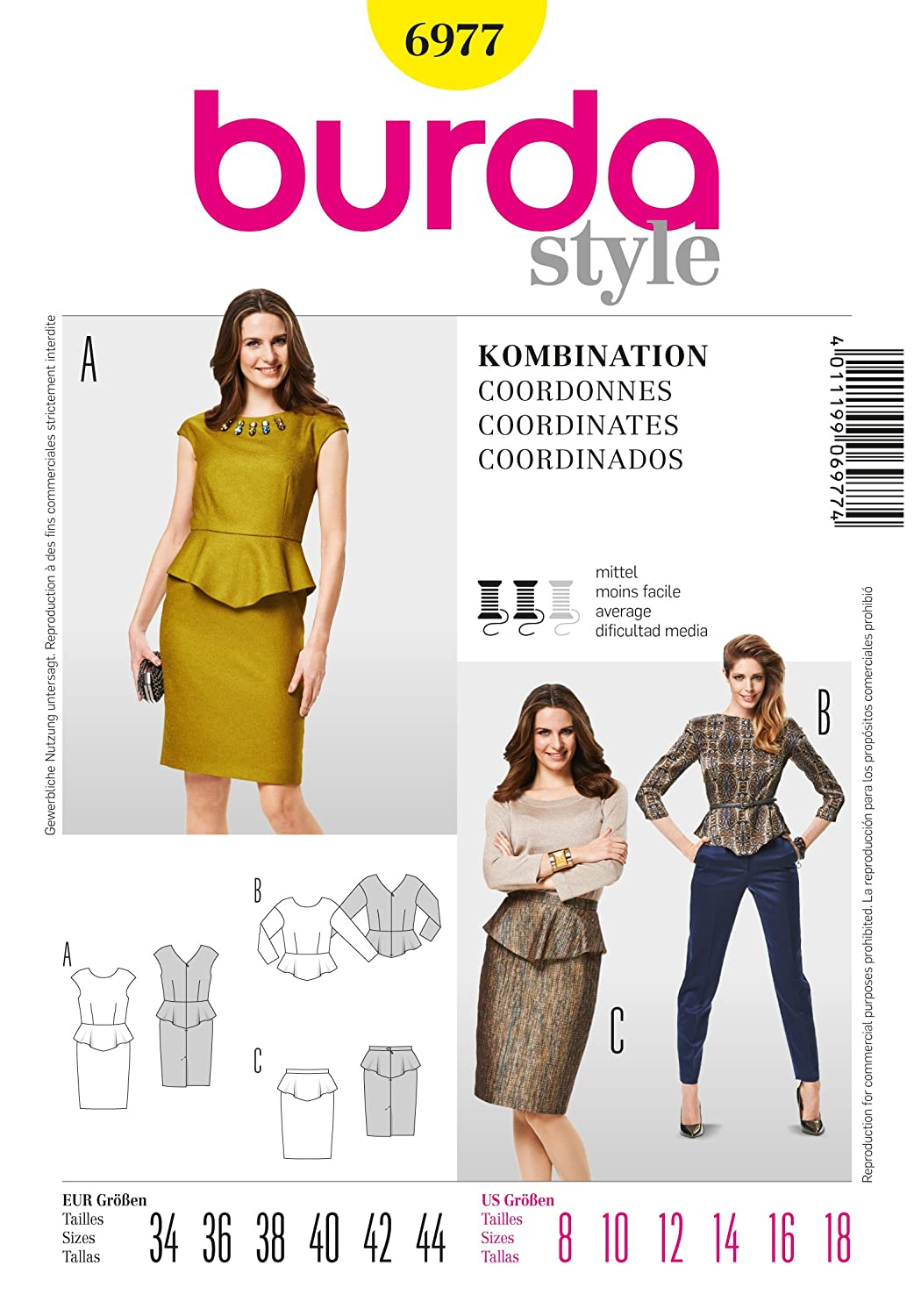 b762df21ec64 Amazon.com: Burda Coordinates Sewing Pattern 6977 - Coordinates Sizes: 8-18:  Kitchen & Dining