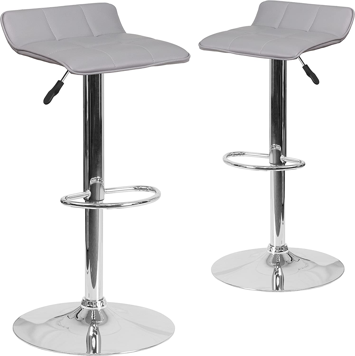 Flash Furniture 2 Pk. Contemporary Gray Vinyl Adjustable Height Barstool with Quilted Wave Seat and Chrome Base