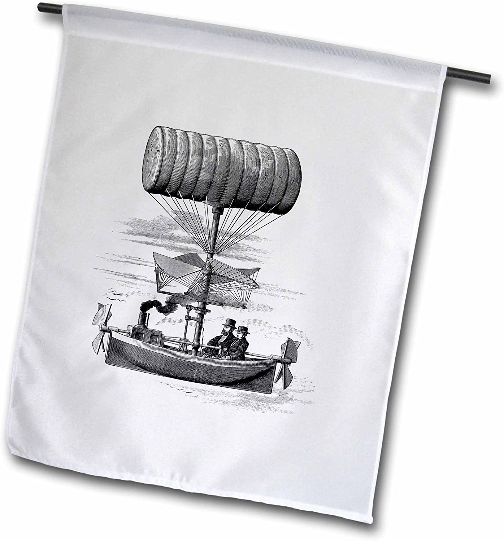 3dRose fl_80332_1 Air Ship Drawing Steampunk Style Garden Flag, 12 by 18-Inch