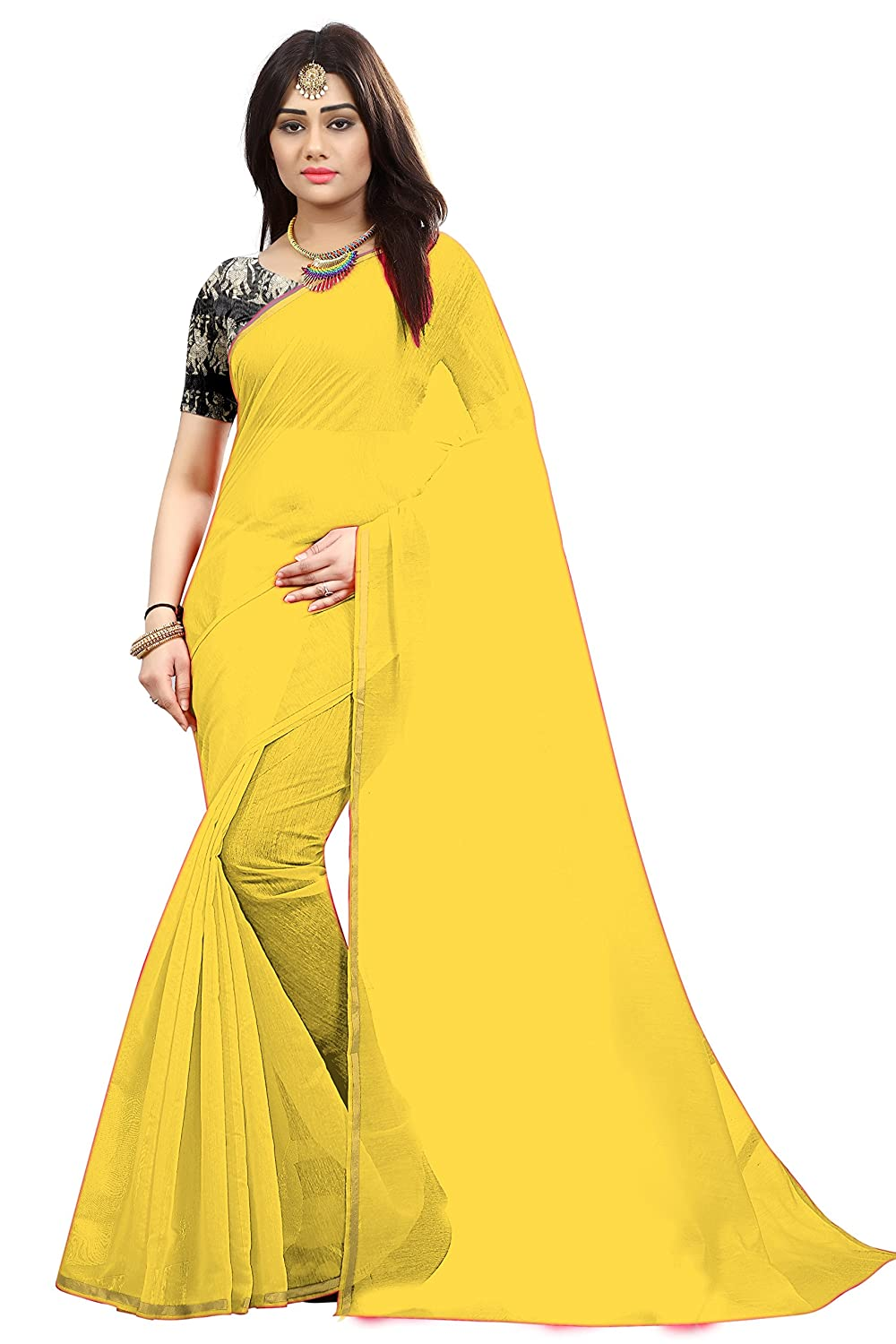7bb4c584ae79ef Radiance Star Women s Chanderi Cotton Yellow Color Plain Saree With  Benglori Silk Blouse Piece  Amazon.in  Clothing   Accessories
