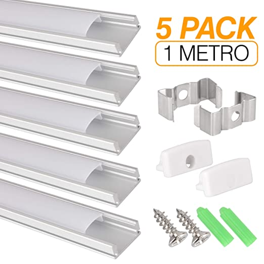 Perfil de aluminio para tira LED, Pack de 5 canaletas de 1 metro ...