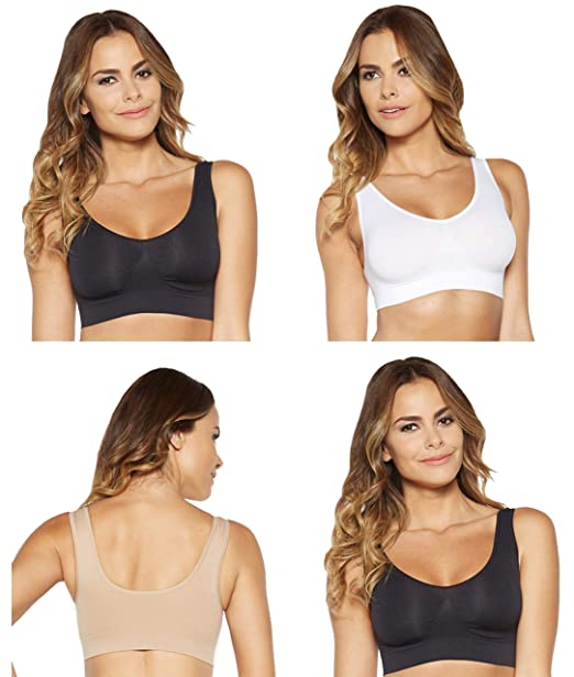 99d986d238f Marielle® 4 Pack Bra The Ultimate Seamless Wireless Comfort Bra Bralette.  Premium Quality - Guaranteed Best S-4XL  Amazon.co.uk  Clothing