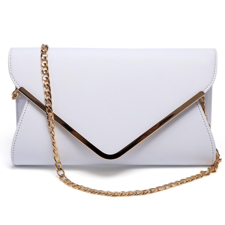 Womens Faux Leather Envelope Clutch Bag Evening Handbag Shoulder Bag Wristlet Dress Purse.(White).