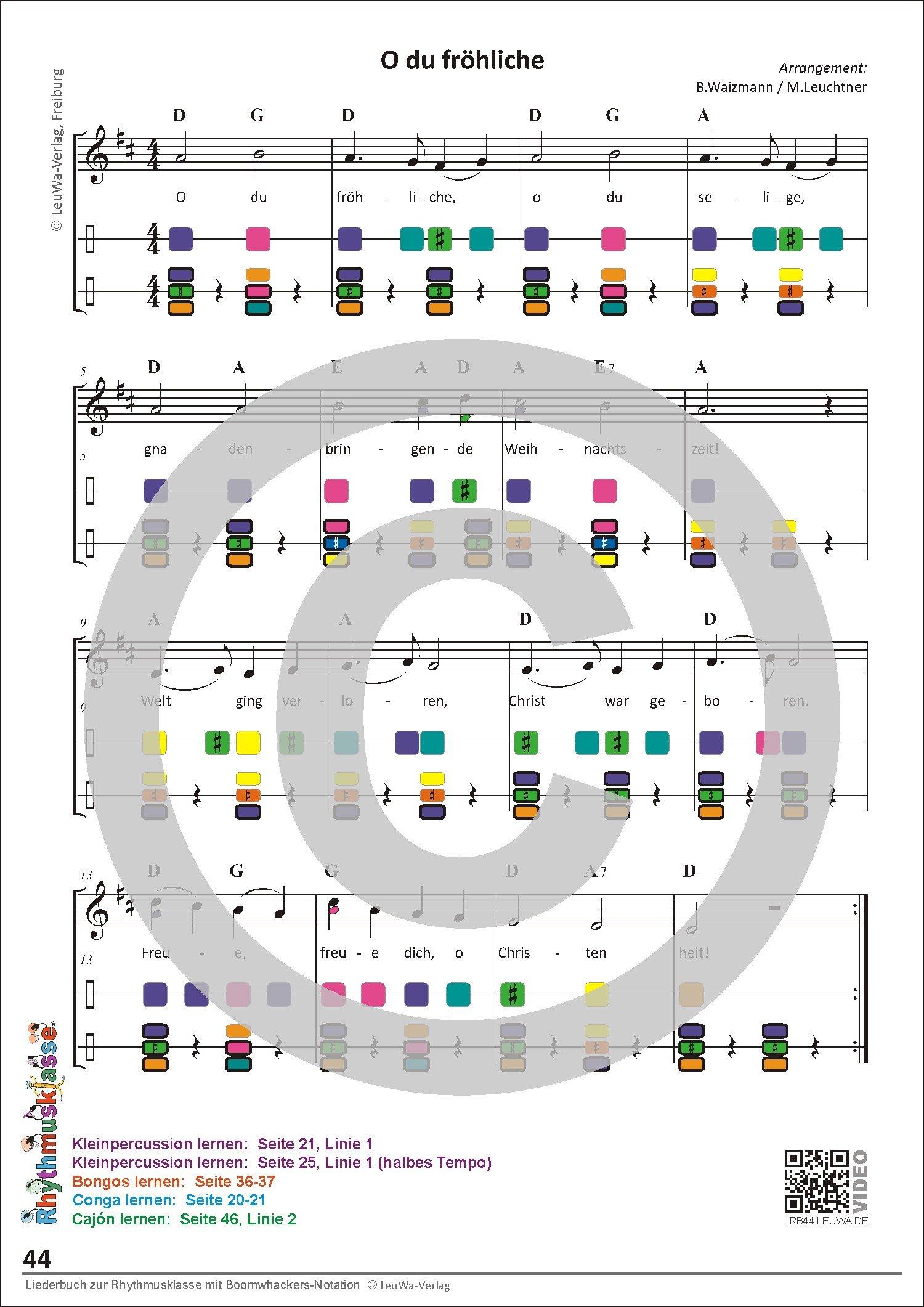 Liederbuch zur Rhythmusklasse mit Boomwhackers-Notation ...