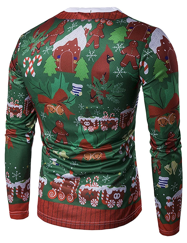 GHYUGR Natale Camicia da Uomo a Manica Lunga Camicetta Maglietta Top Maglie Autunno Inverno Felpe Pullover T-Shirt