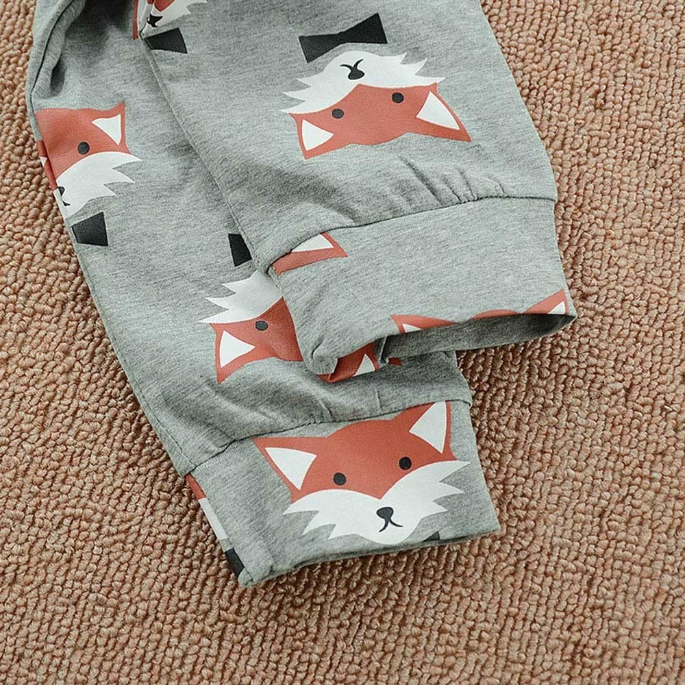 Lurryly 3Pcs Newborn Baby Long Sleeves Fox Tops+Pants Clothes Clothing Outfit Set 0-2T