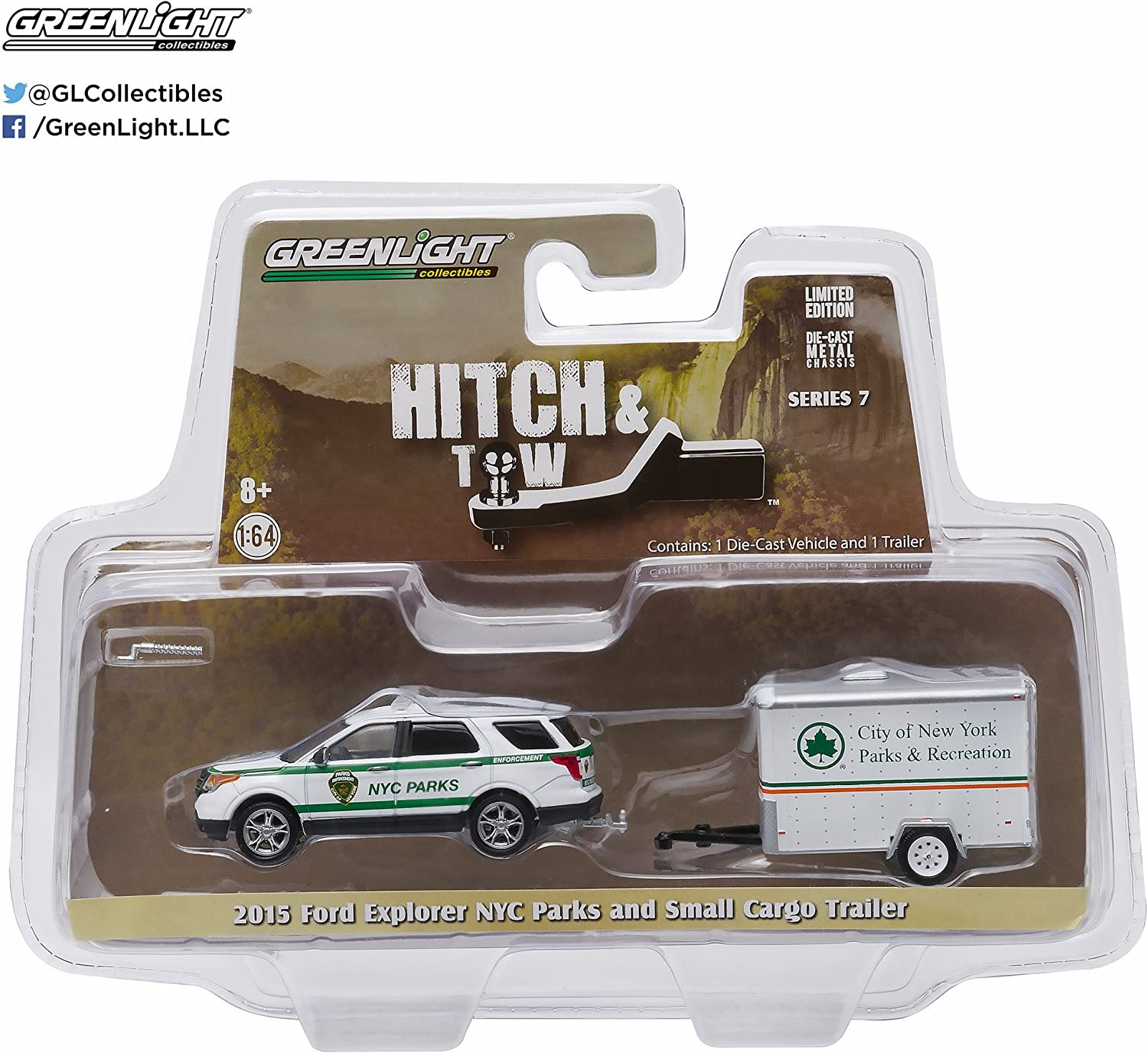 Greenlight 1:64 Hitch Tow Series 7-2015 Ford Explorer NY City Parks /& Recreation Trailer 32070-D