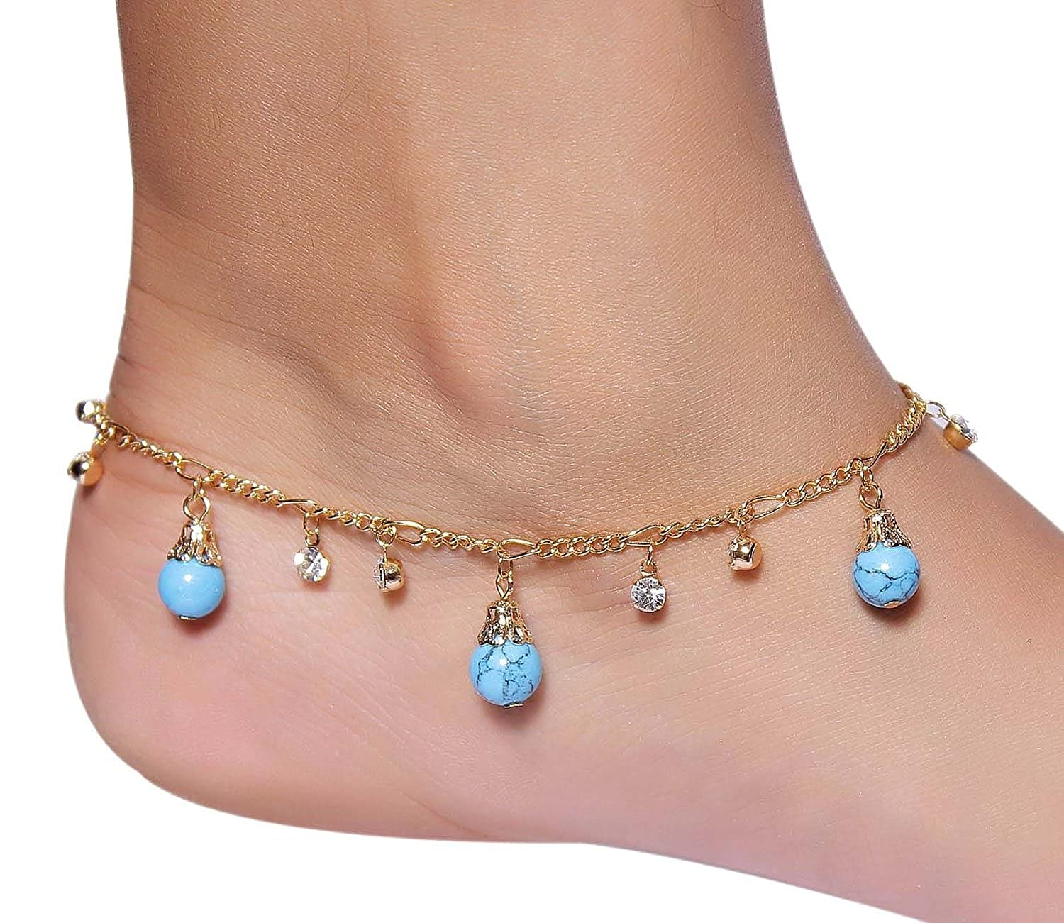 Buy MUCH MORE Dropping Beads Gold Plated 1Pair Anklet/Payal Women ...