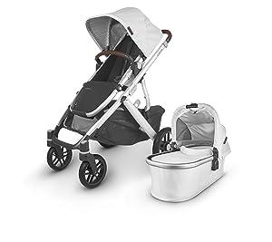 UPPAbaby Vista V2 Stroller - Bryce (White Marl/Silver/Chestnut Leather)