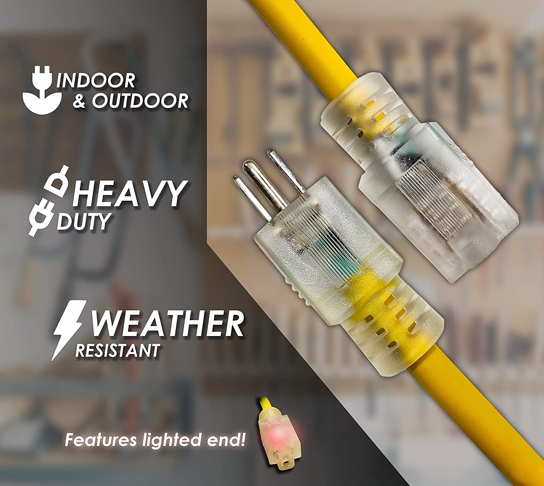 3 Feet LifeSupplyUSA 10//3 SJTW 3ft Lighted End 15 AMP 125V Indoor//Outdoor Extension Cord