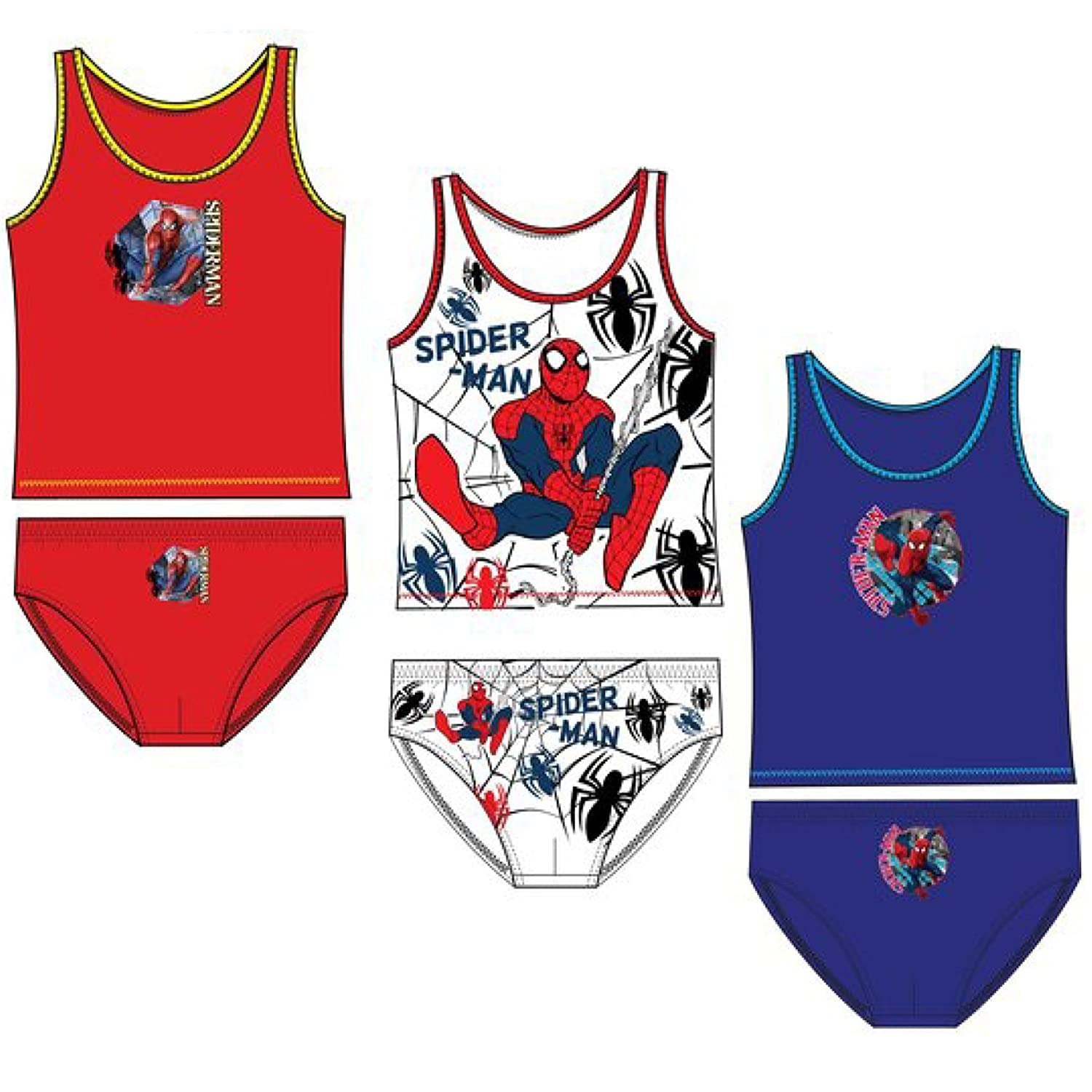 Official Spiderman Boys Underwear Set Bulk 6 PCS Pack 3 Briefs + 3 Vest 2-8 Yrs
