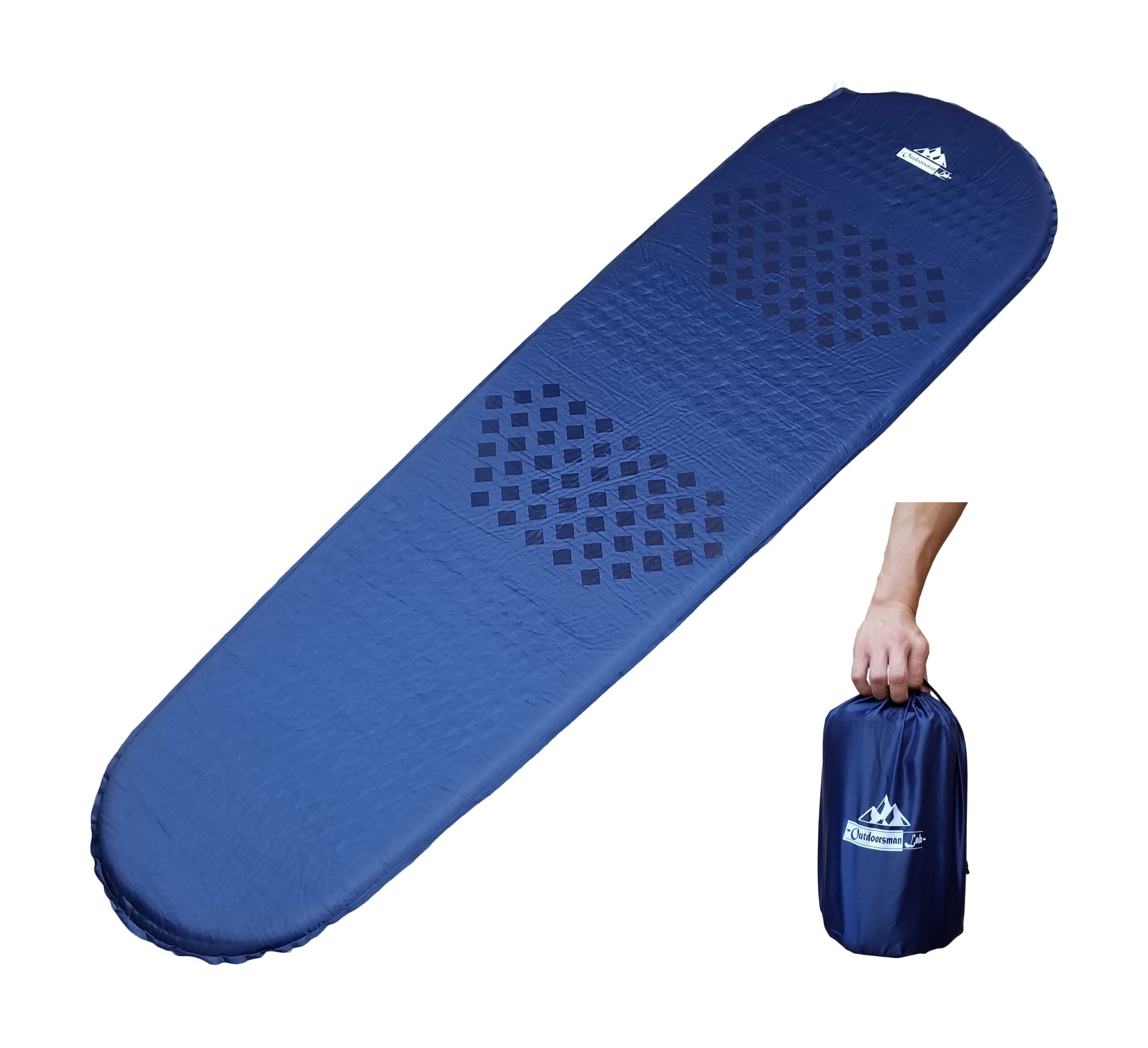 Outdoorsman Lab Self-Inflating Sleeping Pad - Lightweight, Compact, Perfect for Backpacking, Camping, Traveling. Insulated for 3-4 Season Camping
