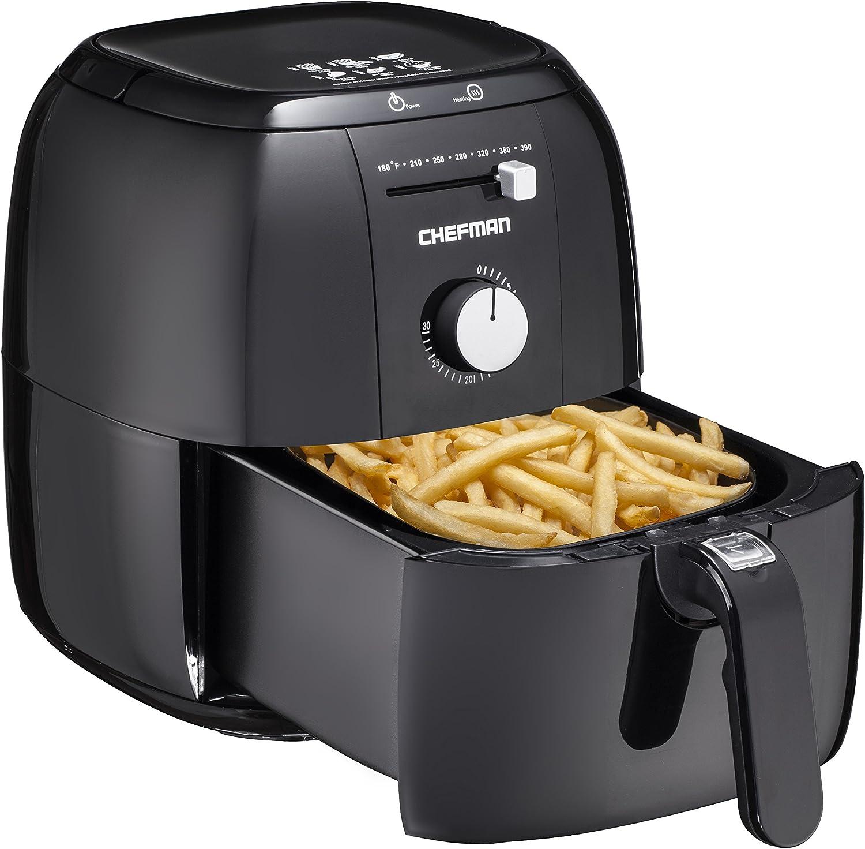 Chefman Express Air Fryer, Rapid Hot-Air Technology, Ultra quiet, Includes Recipe Book, Minimum Temperature 180°F to Maximum 390°F, Black - RJ38