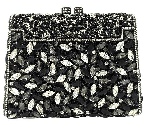 Diamantes Bolso Mujer Noche Bolsas Fiesta Boda Carteras Brillo Cadena Embrague Negro