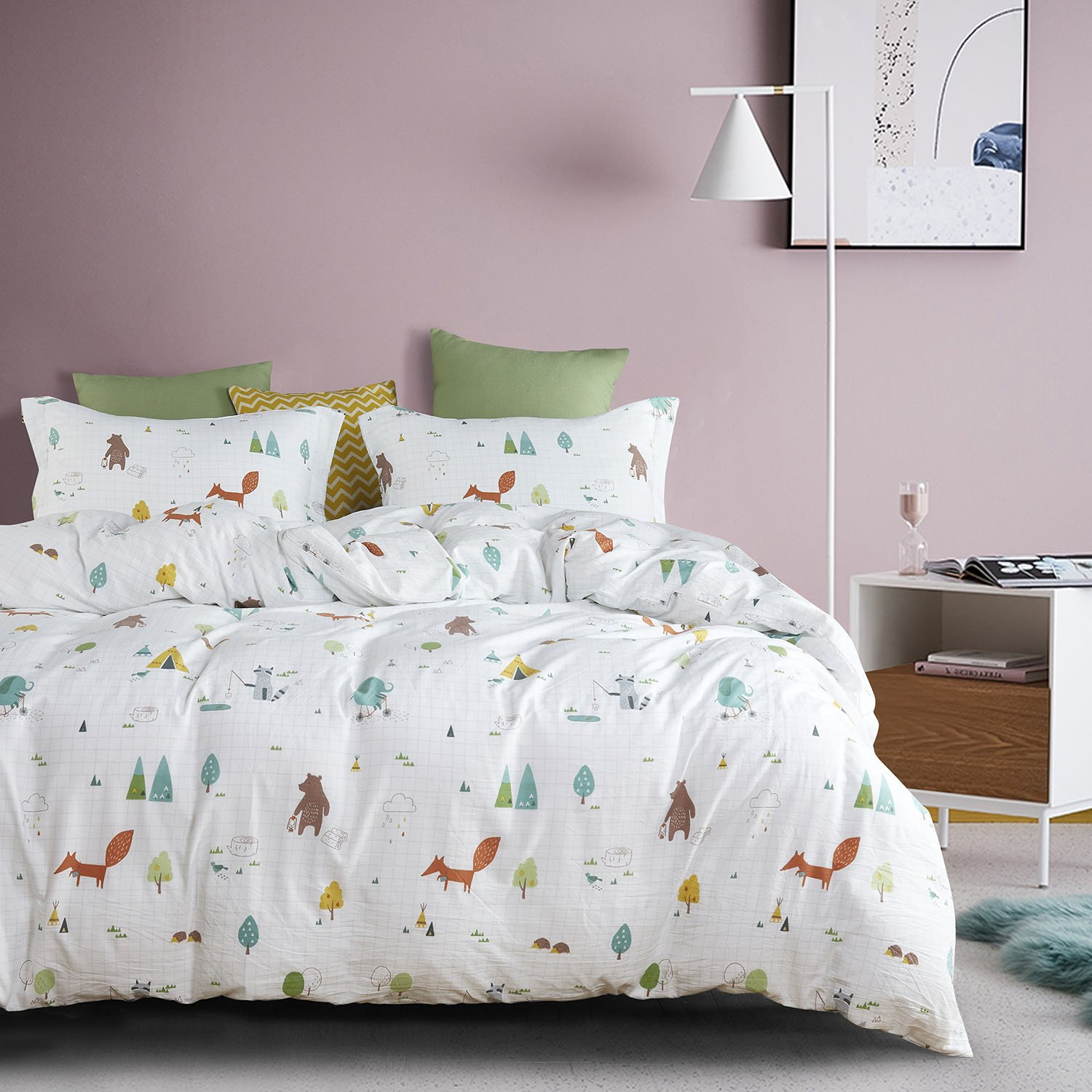 Wake In Cloud - Zoo Comforter Set Queen, 3-Piece Fox Elephant Bear Animals Cartoon Pattern Printed, Soft Washed Microfiber Bedding for Kids or Teens (3pcs, Queen Size) by Wake In Cloud (Image #2)