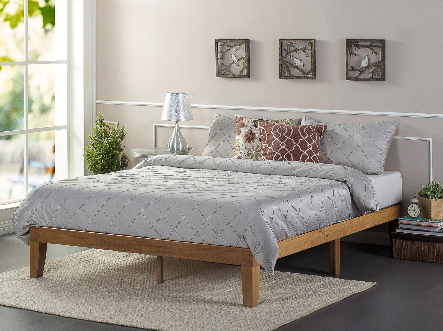 Zinus Alexia 12 Inch Wood Platform Bed / No Box Spring Needed / Wood Slat Support / Rustic Pine Finish, Full by Zinus