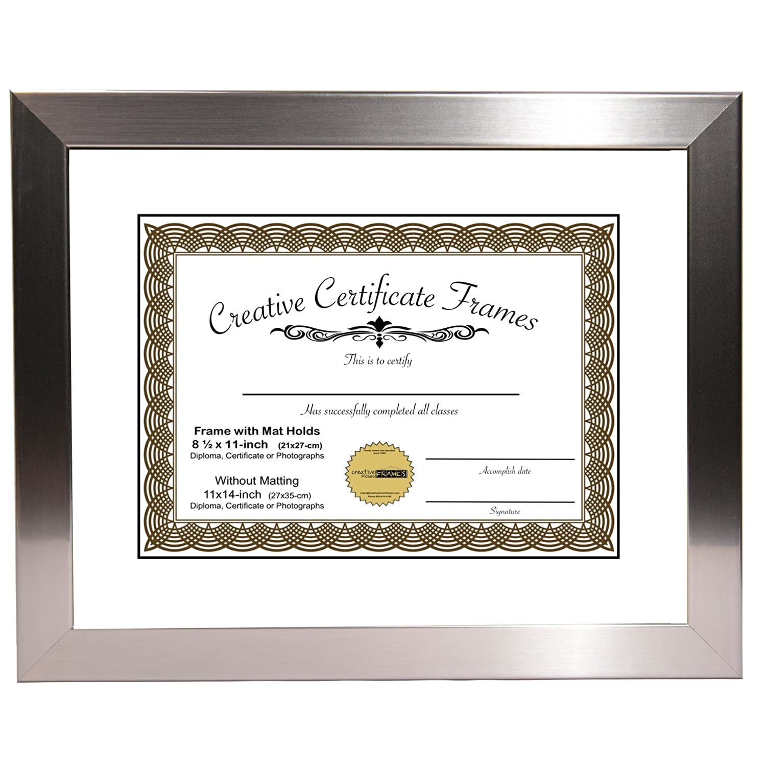 CreativePF [Y8SH-11x14ss-w] Stainless Steel Document Frame Displays 8.5